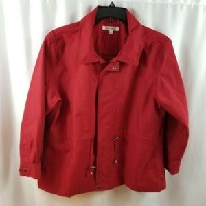 Travel Smith Red utility Jacket Lined Women Sz LP